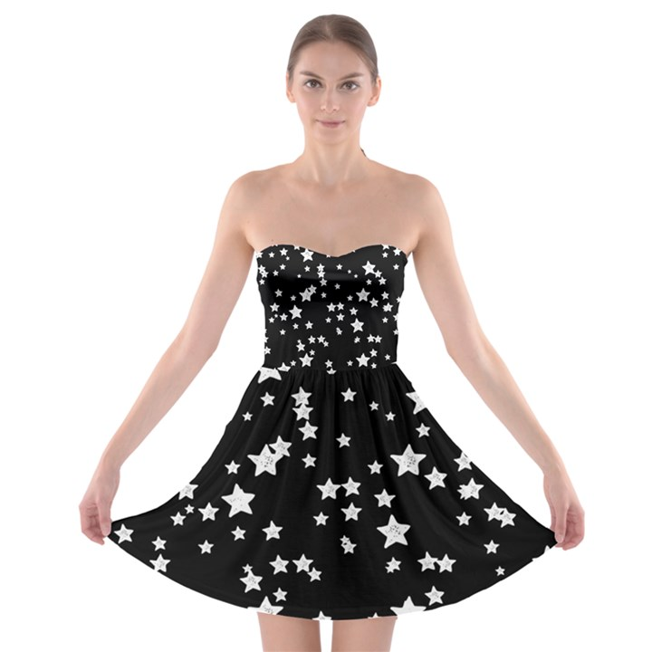 Black and White Starry Pattern Strapless Bra Top Dress