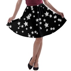 Black And White Starry Pattern A Line Skater Skirt