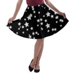 Black and White Starry Pattern A-line Skater Skirt