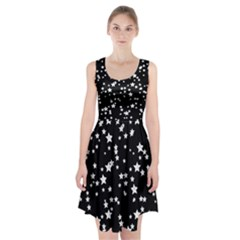 Black And White Starry Pattern Racerback Midi Dress