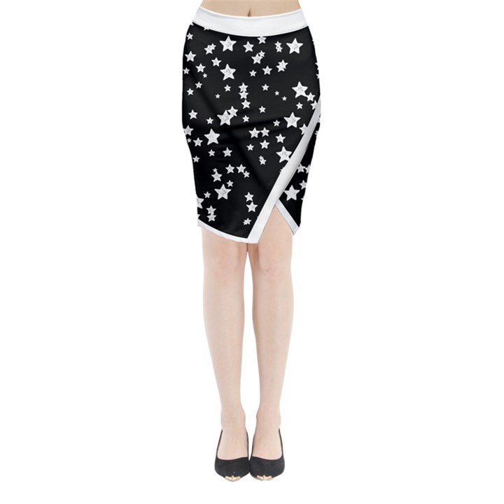 Black and White Starry Pattern Midi Wrap Pencil Skirt