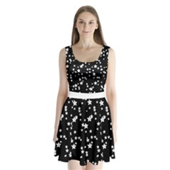 Black And White Starry Pattern Split Back Mini Dress