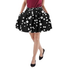 Black And White Starry Pattern A Line Pocket Skirt