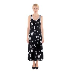 Black And White Starry Pattern Sleeveless Maxi Dress