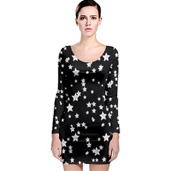 Black And White Starry Pattern Long Sleeve Bodycon Dress