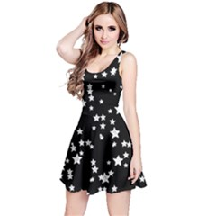 Black And White Starry Pattern Reversible Sleeveless Dress