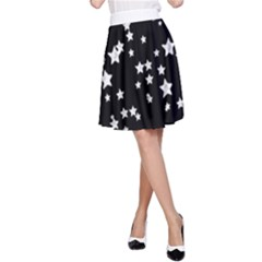 Black And White Starry Pattern A Line Skirt