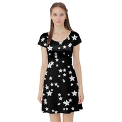 Black And White Starry Pattern Short Sleeve Skater Dress