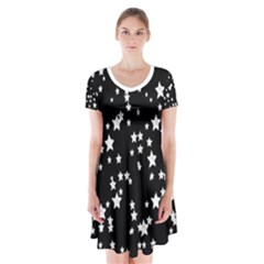 Black And White Starry Pattern Short Sleeve V Neck Flare Dress