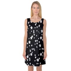 Black And White Starry Pattern Sleeveless Satin Nightdress by DanaeStudio