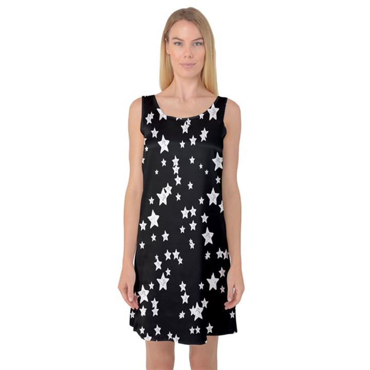 Black and White Starry Pattern Sleeveless Satin Nightdress