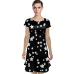 Black and White Starry Pattern Cap Sleeve Nightdress