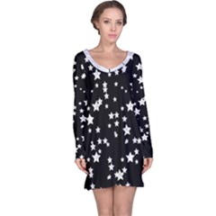Black And White Starry Pattern Long Sleeve Nightdress by DanaeStudio