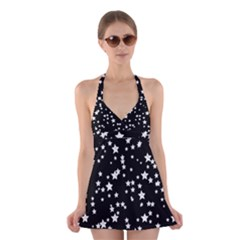 Black And White Starry Pattern Halter Swimsuit Dress