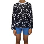 Black and White Starry Pattern Kid s Long Sleeve Swimwear