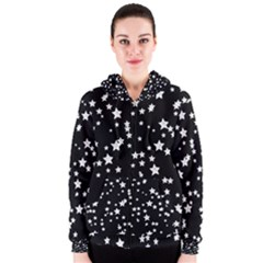 Black And White Starry Pattern Women s Zipper Hoodie