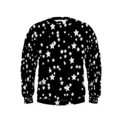 Black And White Starry Pattern Kids  Sweatshirt by DanaeStudio