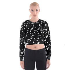 Black And White Starry Pattern Women s Cropped Sweatshirt