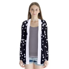 Black And White Starry Pattern Drape Collar Cardigan