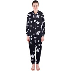 Black And White Starry Pattern Hooded Jumpsuit (ladies)