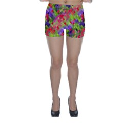 Colorful Mosaic Skinny Shorts