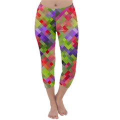 Colorful Mosaic Capri Winter Leggings