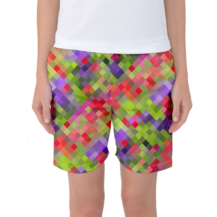 Colorful Mosaic Women s Basketball Shorts