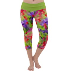Colorful Mosaic Capri Yoga Leggings by DanaeStudio