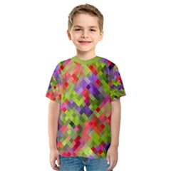 Colorful Mosaic Kid s Sport Mesh Tee by DanaeStudio