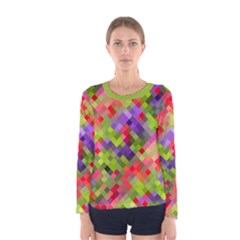 Colorful Mosaic Women s Long Sleeve Tee