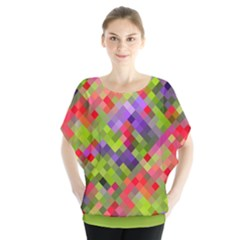 Colorful Mosaic Batwing Chiffon Blouse
