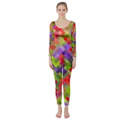 Colorful Mosaic Long Sleeve Catsuit