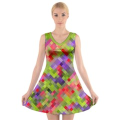 Colorful Mosaic V Neck Sleeveless Dress