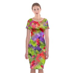 Colorful Mosaic Classic Short Sleeve Midi Dress by DanaeStudio