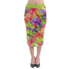 Colorful Mosaic Midi Pencil Skirt