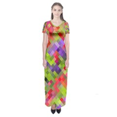 Colorful Mosaic Short Sleeve Maxi Dress