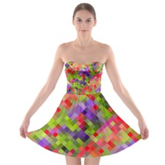 Colorful Mosaic Strapless Bra Top Dress