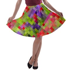 Colorful Mosaic A Line Skater Skirt