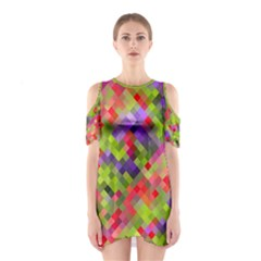 Colorful Mosaic Women s Cutout Shoulder One Piece