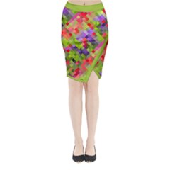 Colorful Mosaic Midi Wrap Pencil Skirt