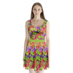 Colorful Mosaic Split Back Mini Dress