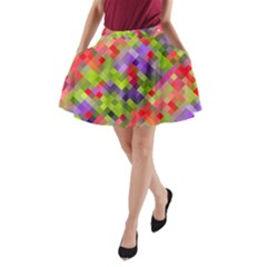 Colorful Mosaic A Line Pocket Skirt