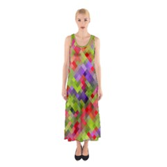 Colorful Mosaic Sleeveless Maxi Dress