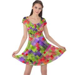 Colorful Mosaic Cap Sleeve Dress