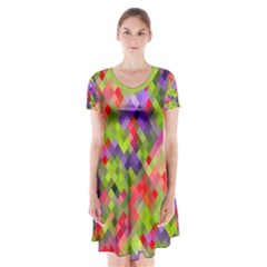 Colorful Mosaic Short Sleeve V Neck Flare Dress