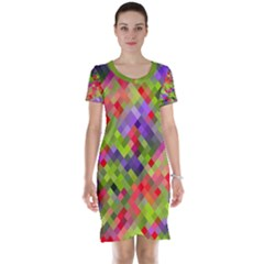 Colorful Mosaic Short Sleeve Nightdress