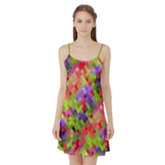Colorful Mosaic Satin Night Slip