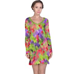 Colorful Mosaic Long Sleeve Nightdress