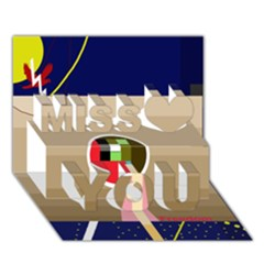 Decorative Abstraction Miss You 3d Greeting Card (7x5)