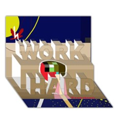 Decorative Abstraction Work Hard 3d Greeting Card (7x5)
